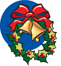 graphic of wreath with bells